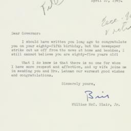 Letter : 1963 April 22