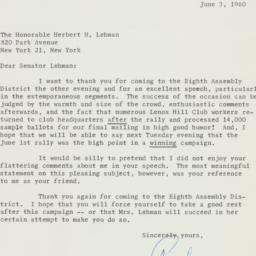 Letter : 1960 June 3
