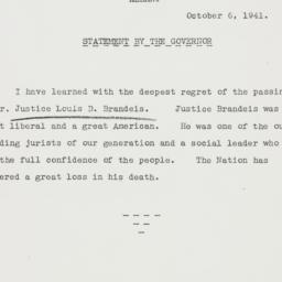Press release : 1941 October 6