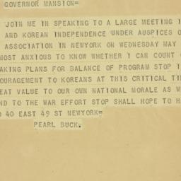 Telegram : 1942 April 27