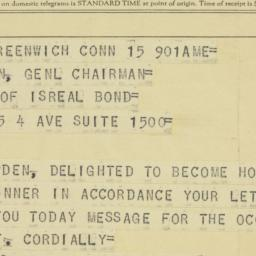 Telegram : 1958 October 15