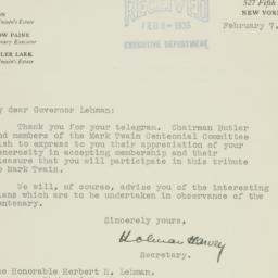 Letter : 1935 February 7