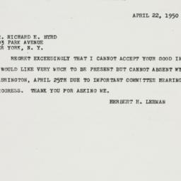 Telegram : 1950 April 22