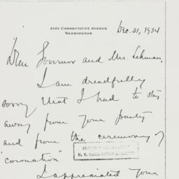 Letter : 1934 December 31
