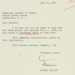 Letter: 1954 June 21