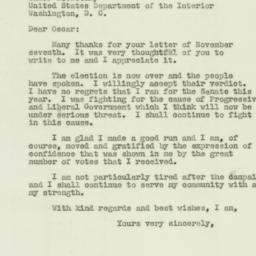 Letter: 1946 November 9