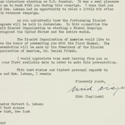 Letter: 1949 November 16