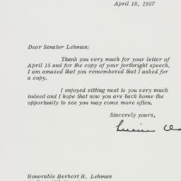 Letter : 1957 April 18