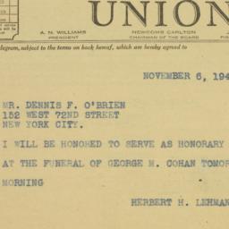 Telegram : 1942 November 6