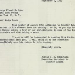 Letter : 1953 September 4
