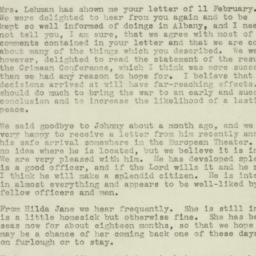 Letter : 1945 February 14