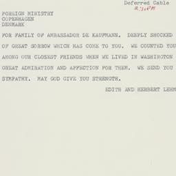 Telegram : 1963 June 6