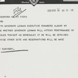 Telegram : 1938 March 19