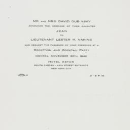 Invitation : 1942 November 30