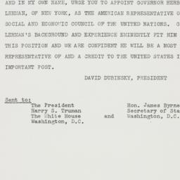 Telegram : 1947 January 3