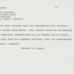 Telegram : 1962 February 24