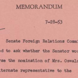 Memorandum : 1953 July 28