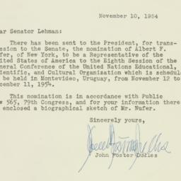 Letter : 1954 November 10