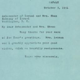 Letter : 1951 October 3