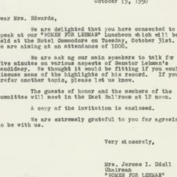 Letter : 1950 October 19