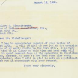 Letter : 1939 August 19