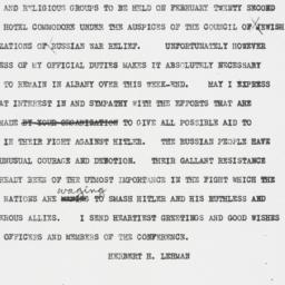 Telegram : 1942 February 21