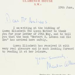 Letter : 1963 June 19