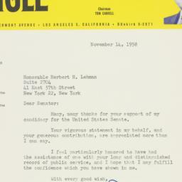 Letter : 1958 November 14