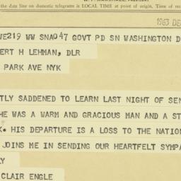 Telegram : 1963 December 6