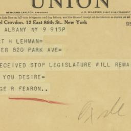 Telegram : 1933 March 9