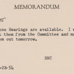 Memorandum : 1954 November 22