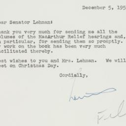 Letter : 1954 December 5