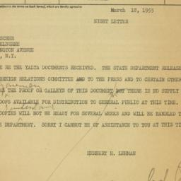 Telegram : 1955 March 18