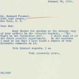 Letter : 1934 January 30