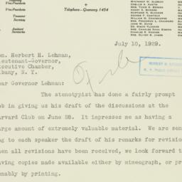 Letter: 1929 July 10