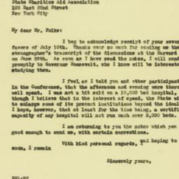 Letter: 1929 July 15