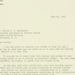 Letter : 1954 June 21