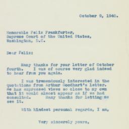 Letter: 1940 October 9