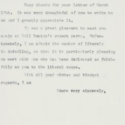 Letter : 1958 March 17