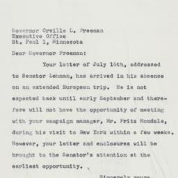 Letter : 1958 July 18