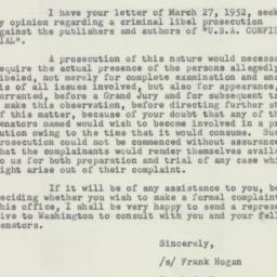 Letter : 1952 April 7