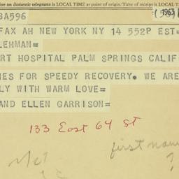 Telegram : 1963 February 14
