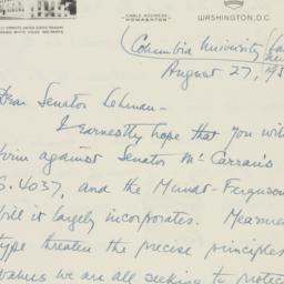 Letter : 1950 August 27