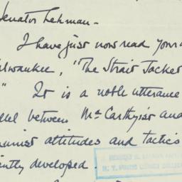 Letter : 1953 July 25