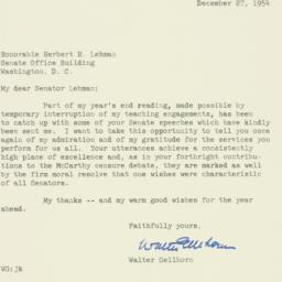 Letter : 1954 December 27