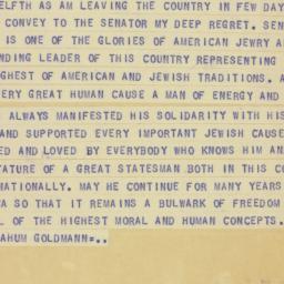 Telegram : 1955 May 9