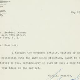 Telegram : 1954 May 25