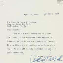 Telegram : 1956 April 6