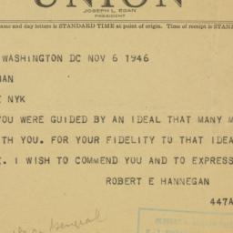 Telegram: 1946 November 6