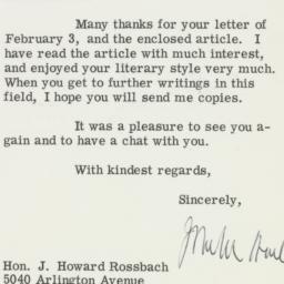 Telegram : 1967 February 13